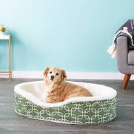 MidWest QuietTime Defender Teflon Geometric Orthopedic Nesting Pet Bed, Green, 36-in