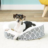 MidWest Quiet Time E' Sensuals Teflon Geometric Orthopedic Nesting Pet Bed, Gray, 17-inch