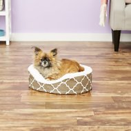 MidWest QuietTime Defender Teflon Geometric Orthopedic Nesting Pet Bed, Brown, 18-in