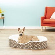 MidWest QuietTime Defender Teflon Geometric Orthopedic Nesting Pet Bed, Brown, 42-in