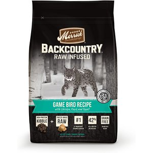 Merrick Backcountry Raw Infused Game Bird Recipe with Chicken, Duck & Quail Grain-Free Dry Cat Food, 10-lb bag; Bring some ancestral-inspired nutrition to your little carnivore's bowl with the Merrick Backcountry Raw Infused Game Bird Recipe with Chicken, Duck & Quail Grain-Free Dry Cat Food. Not your average kibble, the grain-free recipe starts with chicken and turkey, and is infused with freeze-dried raw meat bites packed with the whisker-licking flavor and protein of game birds like duck and quail. It provides the nutritional benefits of a raw diet, straight out of the bag!  Every bite is loaded with everything your kitty needs to fuel his indoor or outdoor adventures, like vitamins, minerals and taurine, omegas for a healthy skin and coat, probiotics for easy digestion and antioxidant-rich veggies. Plus, there's zero by-products, additives, gluten or anything artificial so even sensitive kitties can dive right into their bowl!