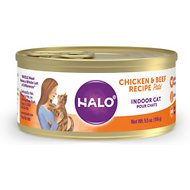 Halo Chicken & Beef Recipe Grain-Free Indoor Cat Canned Cat Food, 5.5-oz, case of 12