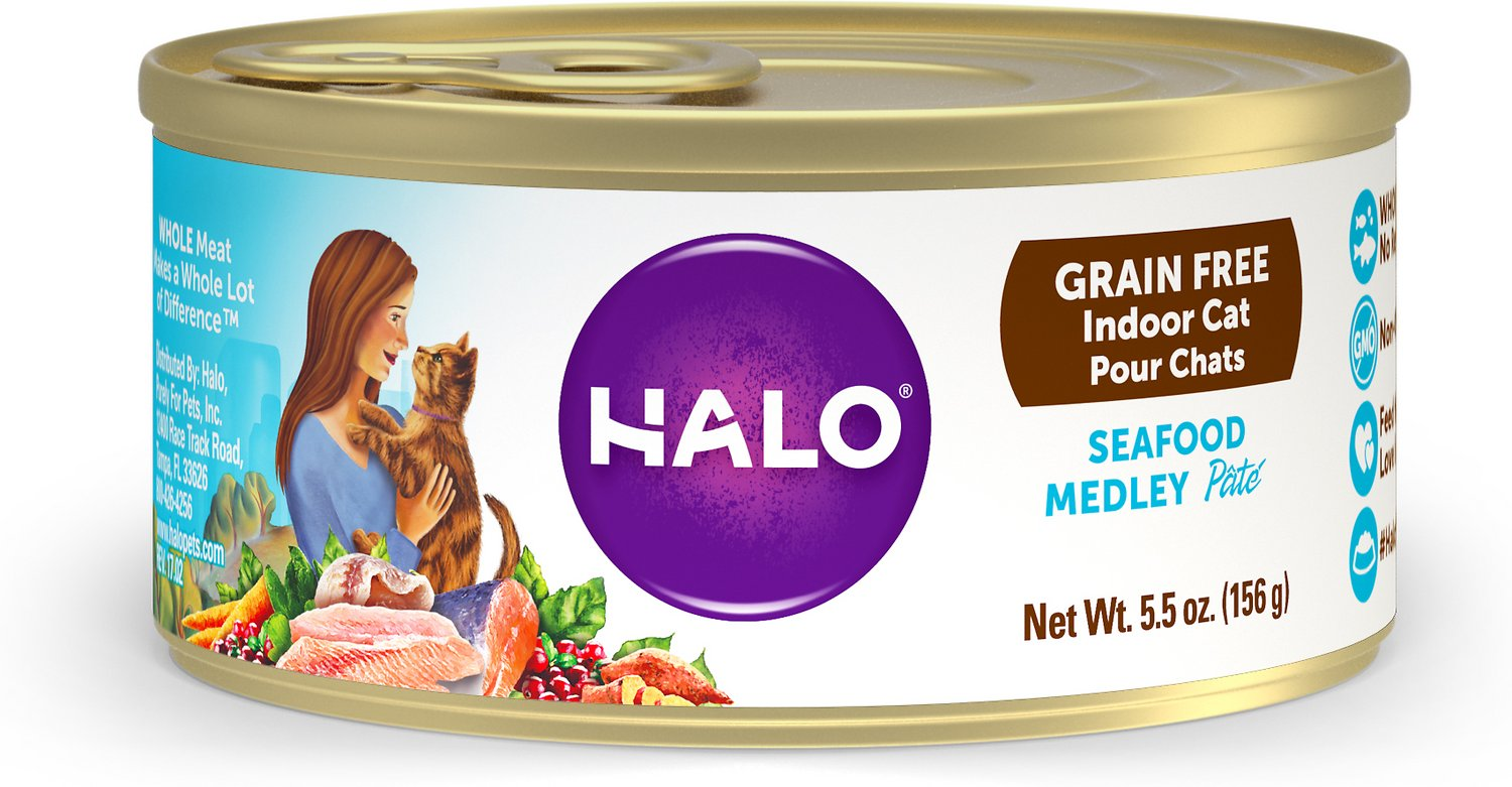 Halo Seafood Medley Grain Free Indoor Cat Canned Cat Food 5 5 oz
