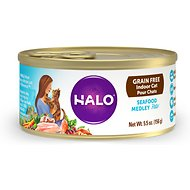 Halo Seafood Medley Grain-Free Indoor Cat Canned Cat Food, 5.5-oz, case of 12