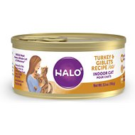 Halo Turkey & Giblets Recipe Grain-Free Indoor Cat Canned Cat Food, 5.5-oz, case of 12