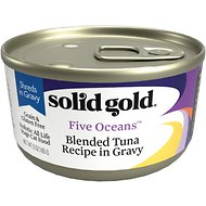 Solid Gold Five Oceans Shreds with Real Tuna Recipe in Gravy Grain-Free Canned Cat Food, 6-oz, case of 8