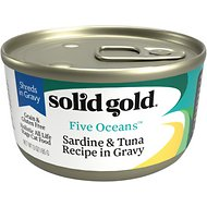 Solid Gold Five Oceans Sardines & Tuna Recipe in Gravy Grain-Free Canned Cat Food, 6-oz, case of 8