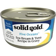 Solid Gold Five Oceans SeaBream & Tuna Recipe in Gravy Grain-Free Canned Cat Food, 6-oz, case of 8