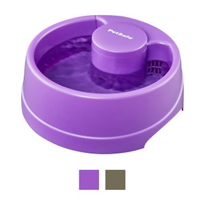 PetSafe Current Circulating Pet Fountain, Purple, Large; Your pets will stay fully hydrated with a steady supply of fresh water from the PetSafe Current Circulating Pet Fountain. Water is constantly circulated by a submersible pump and filtered through a carbon-activated filter that removes dirt, debris and bad odors. The result is great-tasting water that encourages your four-legged friends to drink more often, which helps with urinary health. The stylish fountain features a purple orchid color and a simple, attractive design that takes up the same amount of space as a regular water dish. It's BPA-free to make it safe for your pet and dishwasher safe for easy cleaning.