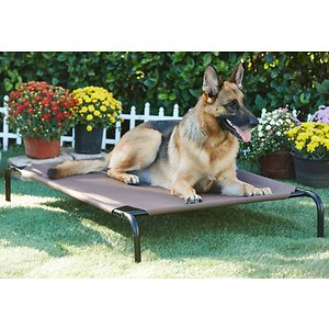 Frisco Steel-Framed Elevated Dog Bed, Brown, Large; Frisco Steel-Framed Elevated Dog Bed gives your dog the perfect rest he's earned after a long walk, a day of play or just quality time with the family. It features a sturdy, powder-coated steel frame and a durable, PVC-coated fabric sleeping surface made to last. The tight, breathable fabric provides an added level of comfort and support that also keeps your dog cool and won\\\'t sag after extended use. Skid resistant feet provide extra stability during movement, making this ultra comfortable bed ideal for use on various surfaces, indoors or outside. It's easy to assemble and just as easy to clean, with surfaces that don't cling to dirt and grime. Give your four-legged family member the bed he deserves with Frisco Steel-Framed Elevated Dog Bed.