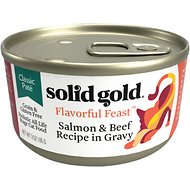 Solid Gold Flavorful Feast in Gravy with Real Salmon & Beef Recipe Grain-Free Canned Cat Food, 3-oz, case of 12