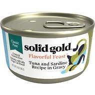 Solid Gold Flavorful Feast in Gravy with Real Tuna & Sardine Grain-Free Canned Cat Food, 3-oz, case of 12