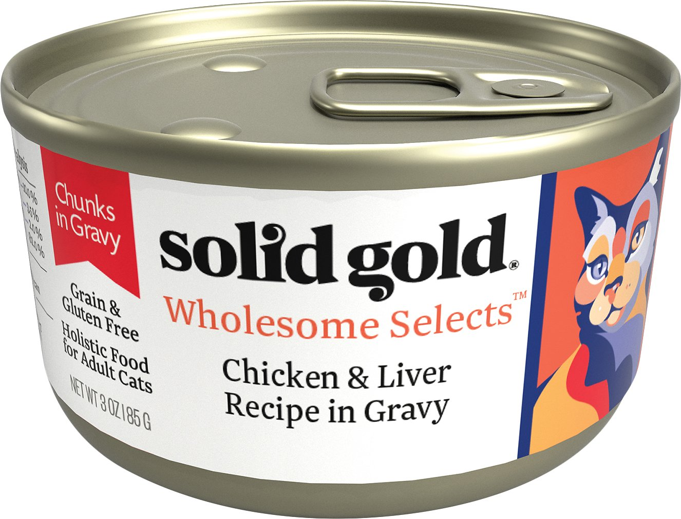 Solid Gold Dawn's Sky Holistic Wet Cat Food, Chicken & Liver in Gravy, Adult Cats, 3oz Can, 24 Count
