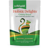 Solid Gold Holistic Delights Creamy Bisque with Crab & Coconut Milk Grain-Free Cat Food Pouches, 3-oz, case of 12