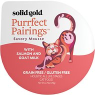 Solid Gold Purrfect Pairings Savory Mousse with Salmon & Goat Milk Grain-Free Cat Food Cups, 2.75-oz, case of 6