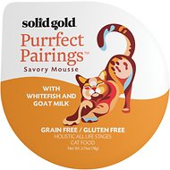 Solid Gold Purrfect Pairings Savory Mousse with Whitefish & Goat Milk Grain-Free Cat Food Cups, 2.75-oz, case of 6