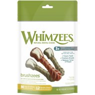WHIMZEES Brushzees Natural Daily Dental Dog Treats, Medium, 12 count