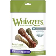 WHIMZEES Brushzees Natural Daily Dental Dog Treats, X-Small, 48 count