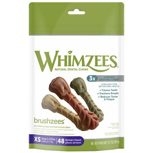 WHIMZEES Brushzees Grain Free Natural Daily Dental Dog Treats, X-Small, 48 count