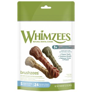 WHIMZEES Brushzees Grain Free Natural Daily Dental Dog Treats, Small, 24 count