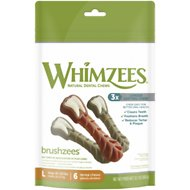WHIMZEES Brushzees Natural Daily Dental Dog Treats, Large, 6 count