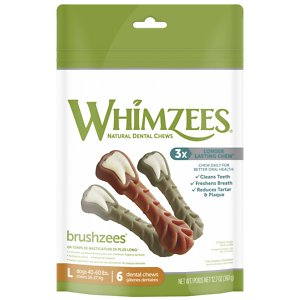 WHIMZEES Brushzees Grain Free Natural Daily Dental Dog Treats, Large, 6 count