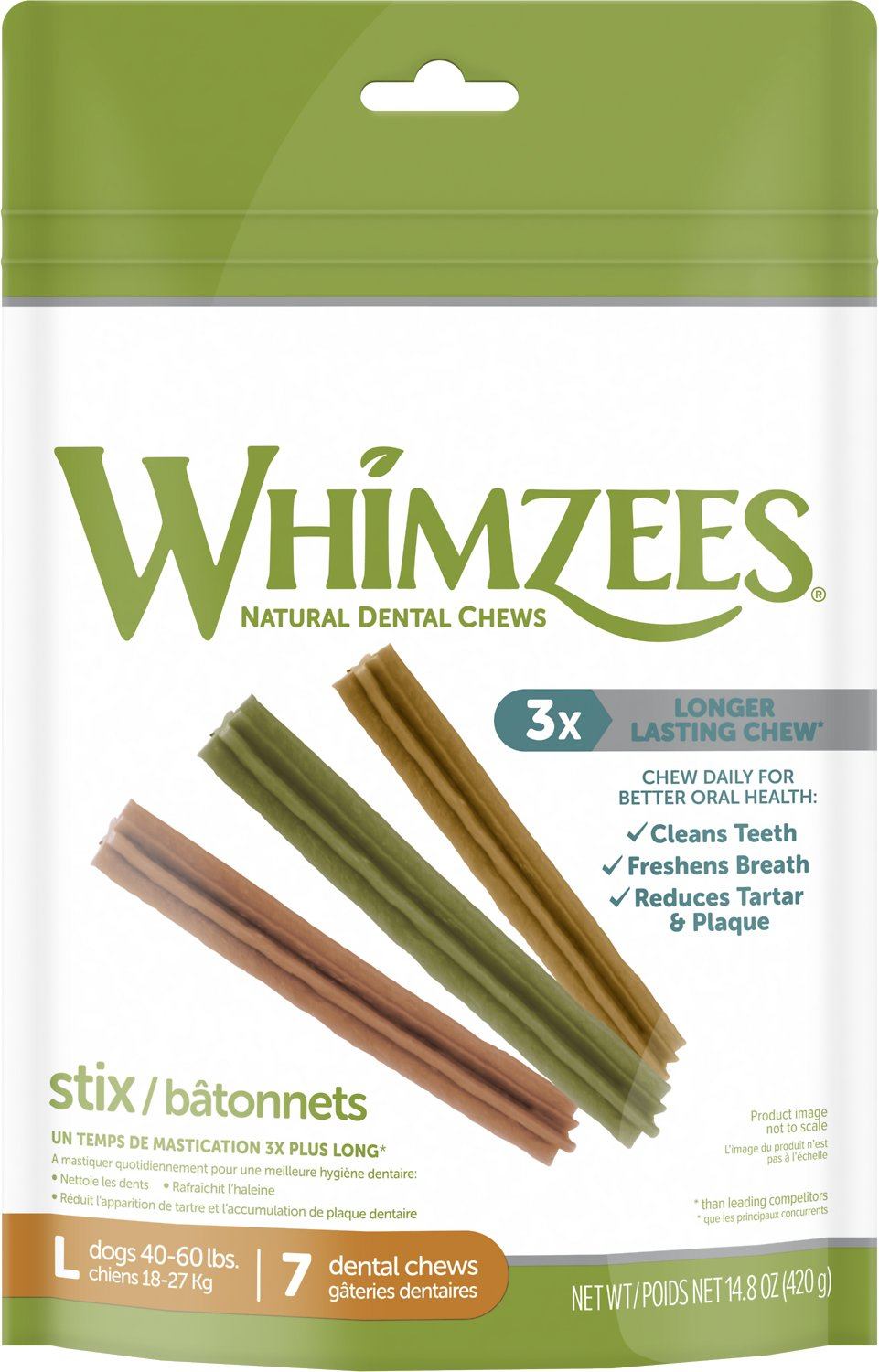 WHIMZEES Stix Dental Dog Treats, Large, 7 count - Chewy.com