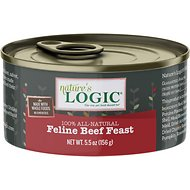 Nature's Logic Feline Beef Feast Grain-Free Canned Cat Food, 5.5-oz, case of 24