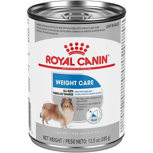 Royal Canin Weight Care Loaf in Sauce Canned Dog Food, 13.5-oz, case of 12; Royal Canin Weight Care wet dog food is tailored nutrition to help your adult dog maintain a healthy weight. This complete and balanced nutrition is low in fat to provide weight control in dogs with a tendency to gain weight. Pair with Royal Canin Weight Care dry dog food to satisfy your big eater and give them a little variety now and then. And remember, regular exercise like walks and playtime will also help your overweight dog achieve an ideal weight!