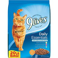 9 Lives Daily Essentials with Chicken, Beef & Salmon Flavor Dry Cat Food, 20-lb bag