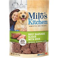 Milo's Kitchen Beef Sausage Slices with Rice Dog Treats, 3-oz bag