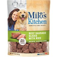 Milo's Kitchen Beef Sausage Slices with Rice Dog Treats, 18-oz bag