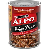 ALPO Chop House Beef Tenderloin Flavor in Gravy Canned Dog Food, 13.2-oz, case of 12